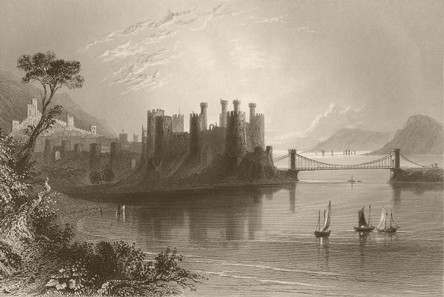 Associate Product Conway/Conwy Castle, with the suspension bridge. Wales. BARTLETT 1842 print