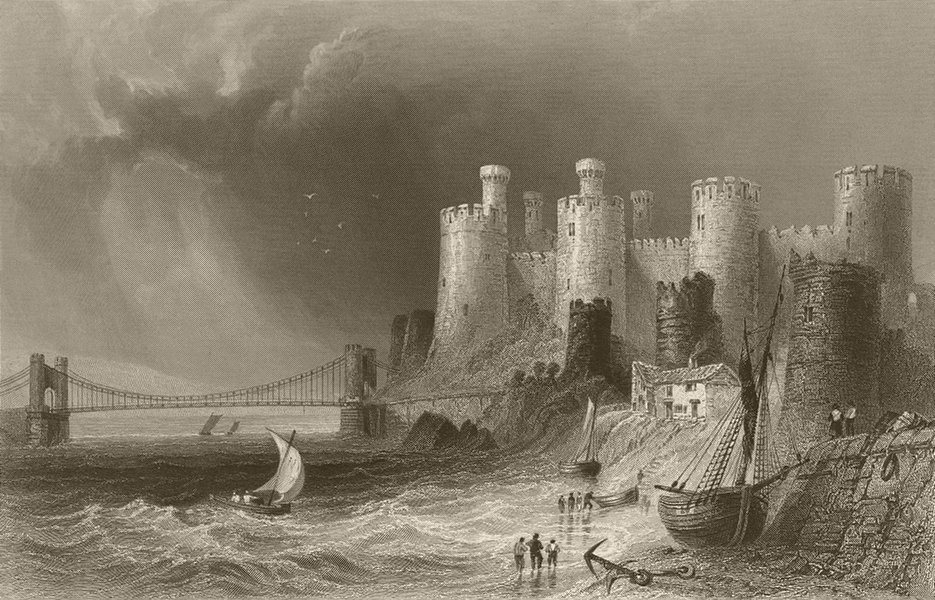 Associate Product Conway/Conwy Quay, with the castle and bridge. Wales. BARTLETT 1842 old print