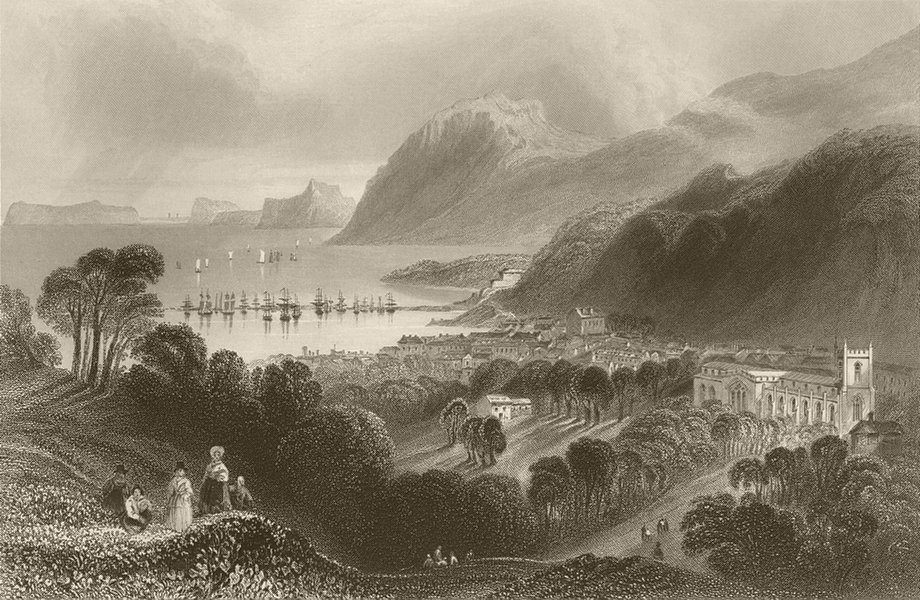 Associate Product Port Penrhyn and Bangor. Wales. BARTLETT 1842 old antique print picture