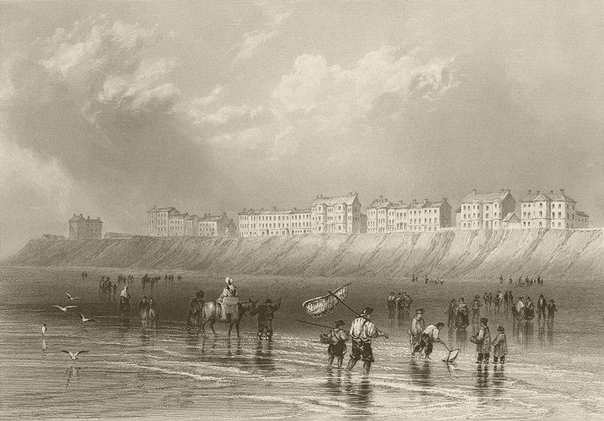Associate Product Blackpool Sands. Lancashire. BARTLETT 1842 old antique vintage print picture