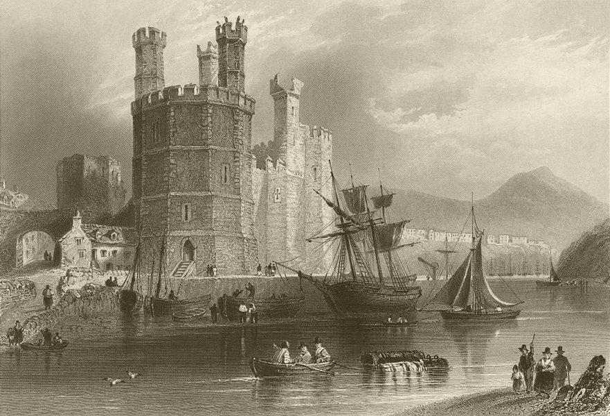 The Eagle Tower, Carnarvon Castle. Wales. BARTLETT 1842 old antique print