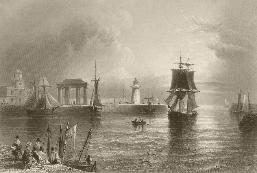 Associate Product Holyhead, the lighthouse, triumphal arch &c. Wales. BARTLETT 1842 old print