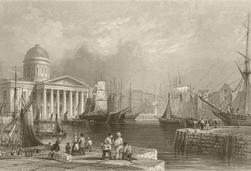 Associate Product Canning dock and custom house, Liverpool. BARTLETT 1842 old antique print