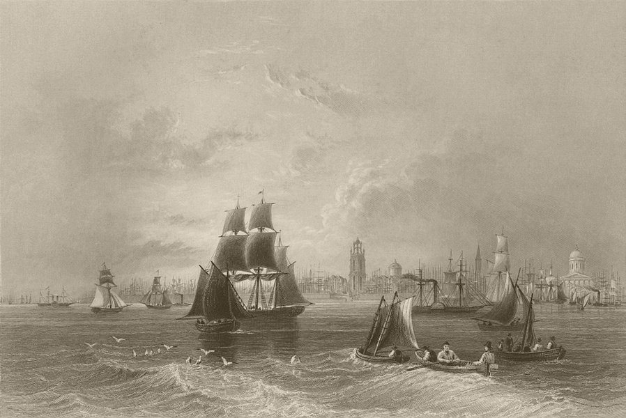The River Mersey, at Liverpool. Lancashire. BARTLETT 1842 old antique print