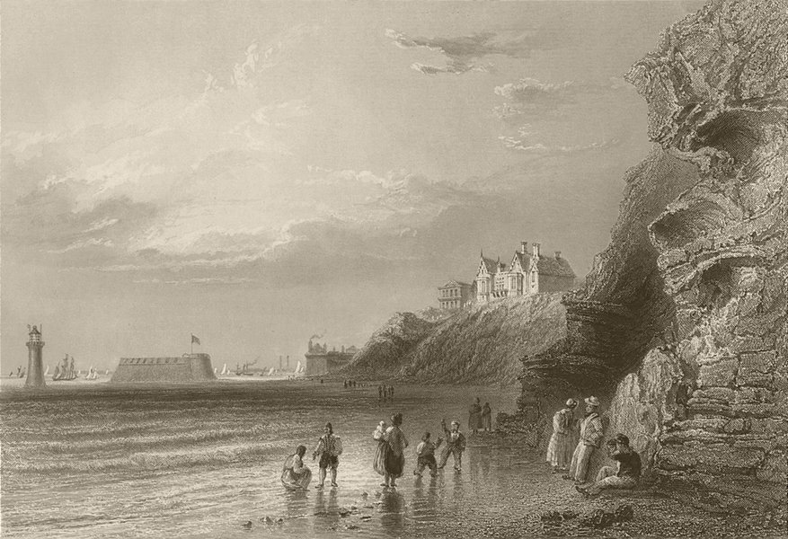 Associate Product New Brighton, near Liverpool. Sussex. BARTLETT 1842 old antique print picture