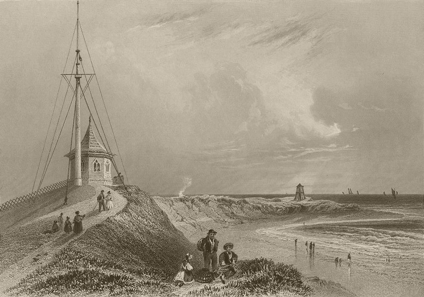 Associate Product Scene at Fleetwood on Wyre. Lancashire. BARTLETT 1842 old antique print