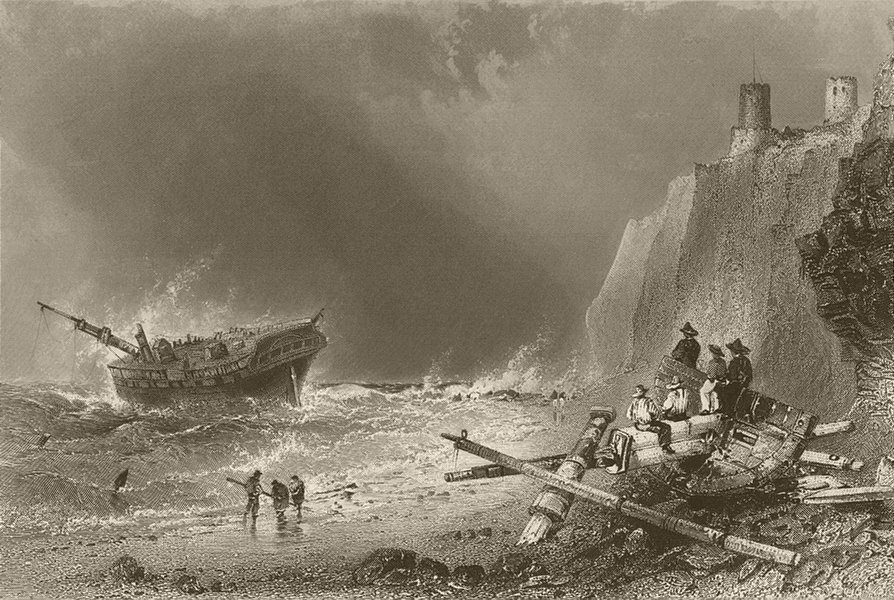 Associate Product Wreck in Kingsgate Bay, Broadstairs, Isle of Thanet. Kent. BARTLETT 1842 print