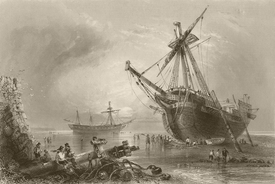 """Associate Product The """"Westminster"""" and """"Claudine"""" ashore near Margate. Kent. BARTLETT 1842"""
