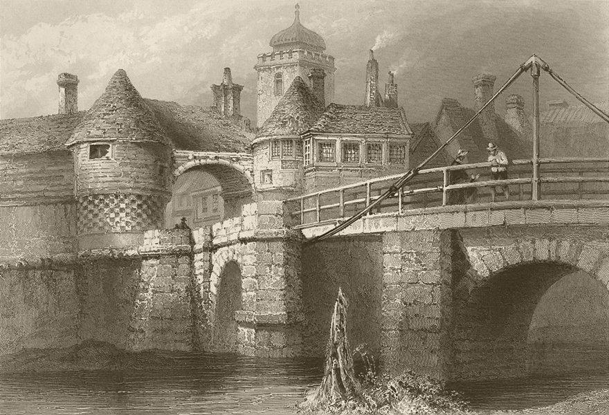 Associate Product Sandwich, Kent, ancient gate and drawbridge. BARTLETT 1842 old antique print