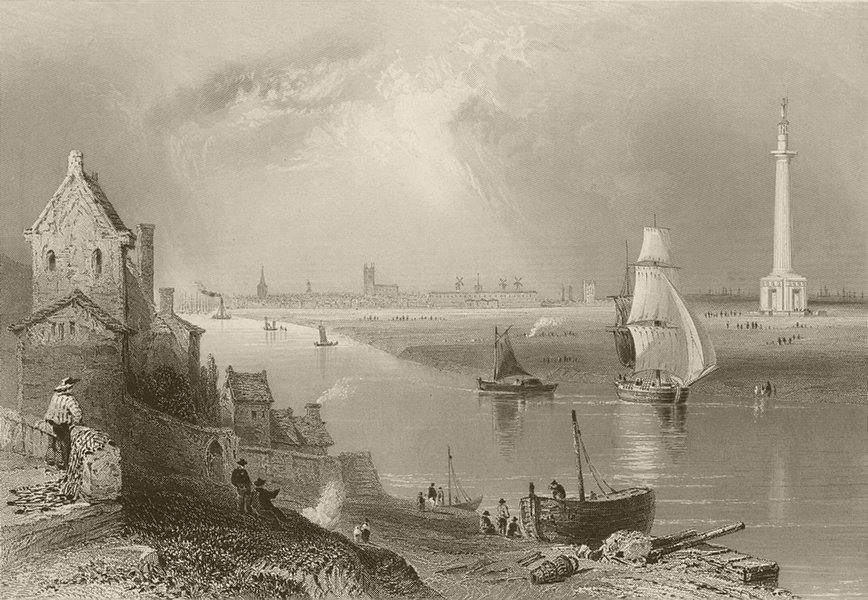 Associate Product Great Yarmouth. Britannia Monument (Nelson's Pillar). Norfolk. BARTLETT 1842