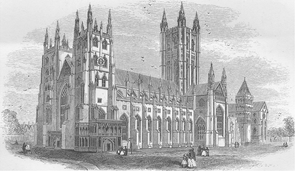 Associate Product KENT. Canterbury Cathedral 1874 old antique vintage print picture