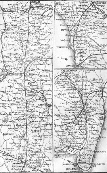 KENT. Reigate, Dover, Canterbury, Ramsgate, Margate 1874 old antique map chart