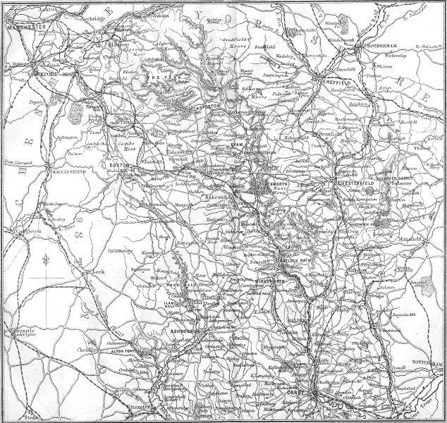 Associate Product DERBYS. Derbyshire 1874 old antique vintage map plan chart