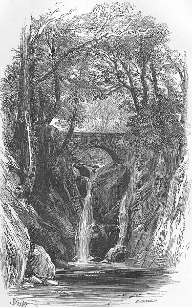 Associate Product CUMBS. Lower fall-Rydal 1874 old antique vintage print picture