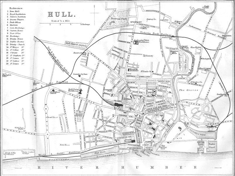 Associate Product YORKS. Hull town plan 1874 old antique vintage map chart
