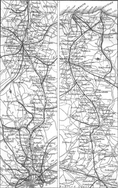 Associate Product GT EASTERN RAIL. Cambridge, Ely, Norwich, Yarmouth 1874 old antique map chart