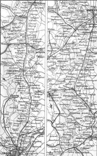 Associate Product GT EASTERN RAIL. London, Ipswich, Bury, Norwich 1874 old antique map chart