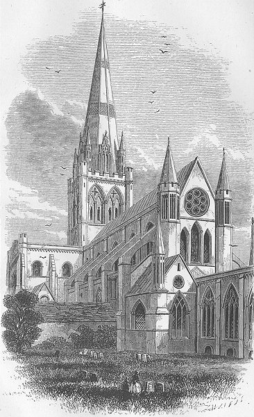 Associate Product SUSSEX. Chichester Cathedral 1874 old antique vintage print picture