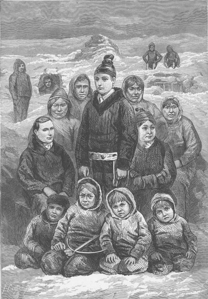 Associate Product GREENLAND. Group of Greenlanders 1890 old antique vintage print picture