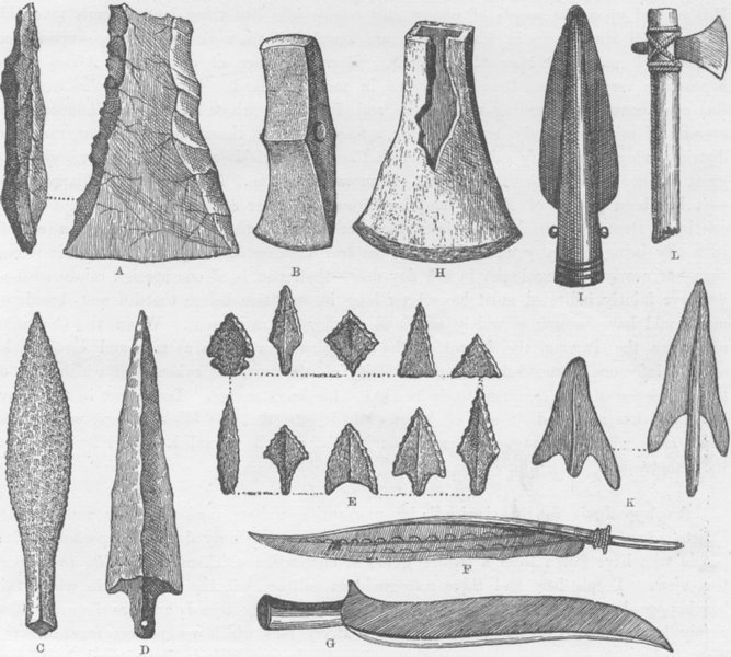 Associate Product MILITARIA. Rude weapons of primitive man 1890 old antique print picture