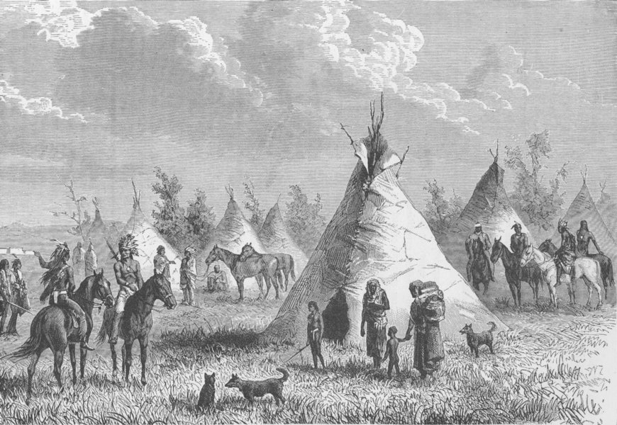Associate Product USA. Village of Prairie Indians 1890 old antique vintage print picture