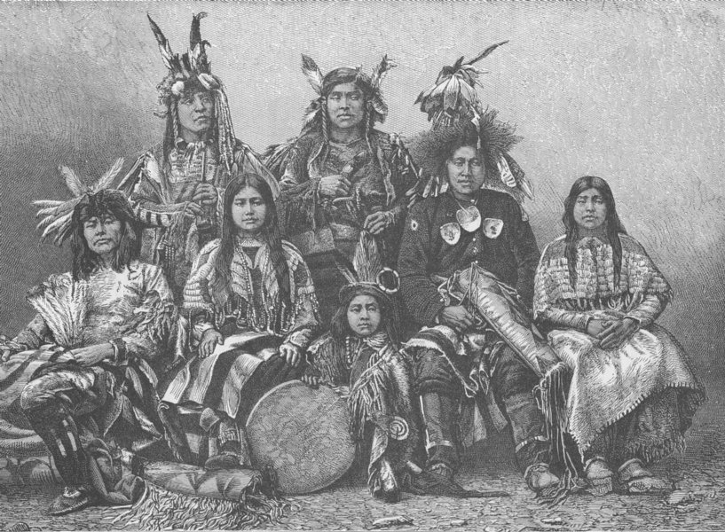 Associate Product USA. Indian warriors and their wives 1890 old antique vintage print picture