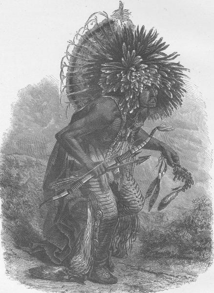 Associate Product MISSOURI. Dog dance of the Minataree Indians (Upper Missouri)  1890 old print