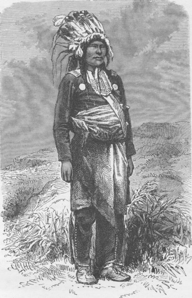 Associate Product USA. Chief in full dress 1890 old antique vintage print picture