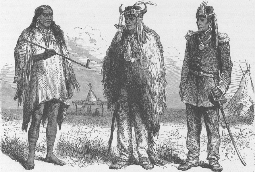 Associate Product USA. Three stages of Civilisation. A sketch near Fort Laramie 1890 old print