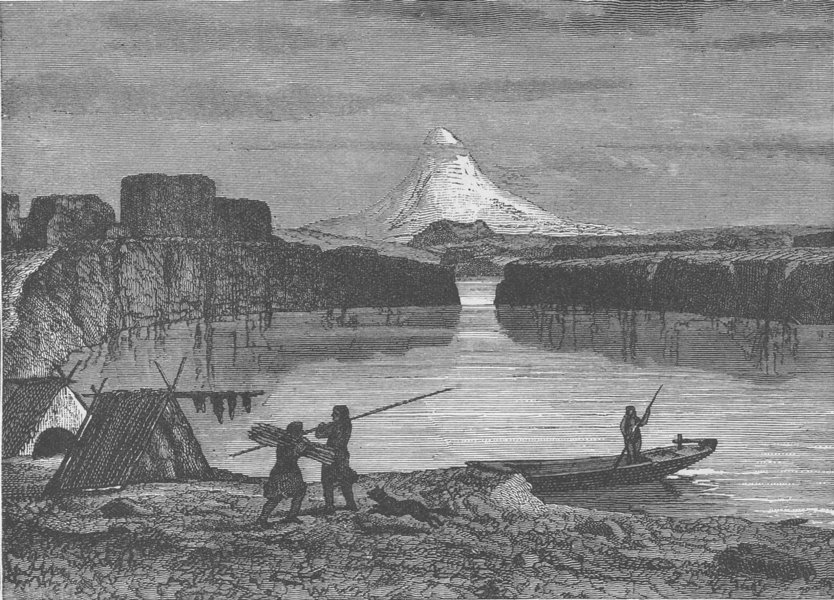 Associate Product OREGON. The Slabs on the Columbia River, Mount Hood in the distance 1890 print