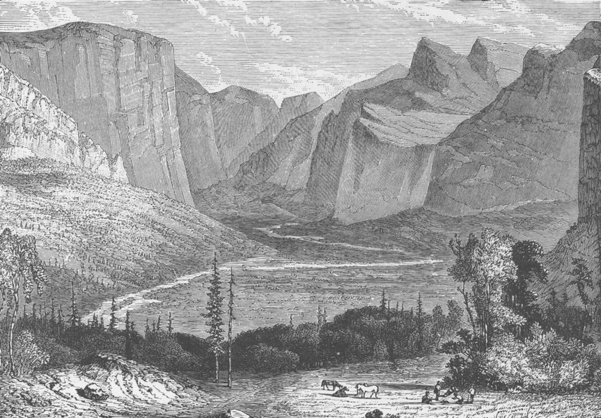 Associate Product NEVADA. Scene in the Sierra Nevada 1890 old antique vintage print picture