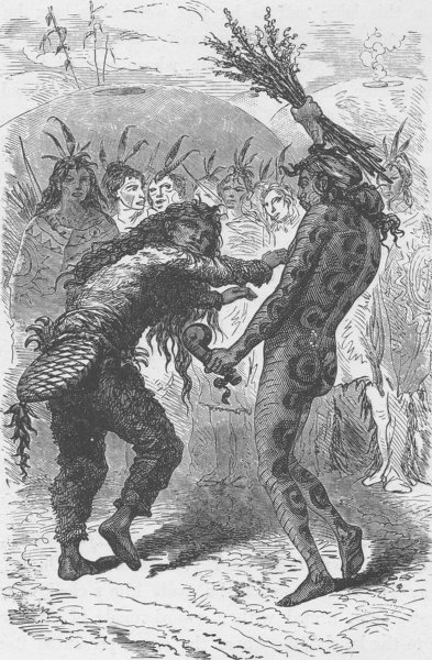 Associate Product UNITED STATES. The Serpent and Beaver dance of the Indians 1890 old print