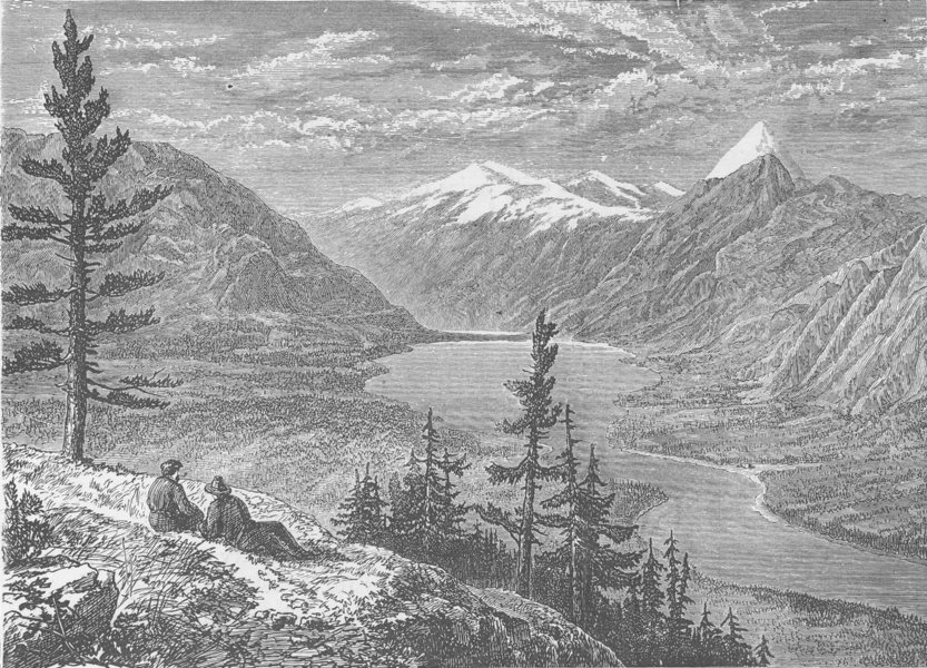 Associate Product CANADA. Upper lake of the Athabasca River and the priest's rock 1890 old print