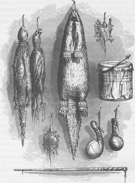 Associate Product USA. Sioux Indian Tobacco Bags, Mystery whistle, rattles & drum 1890 old print