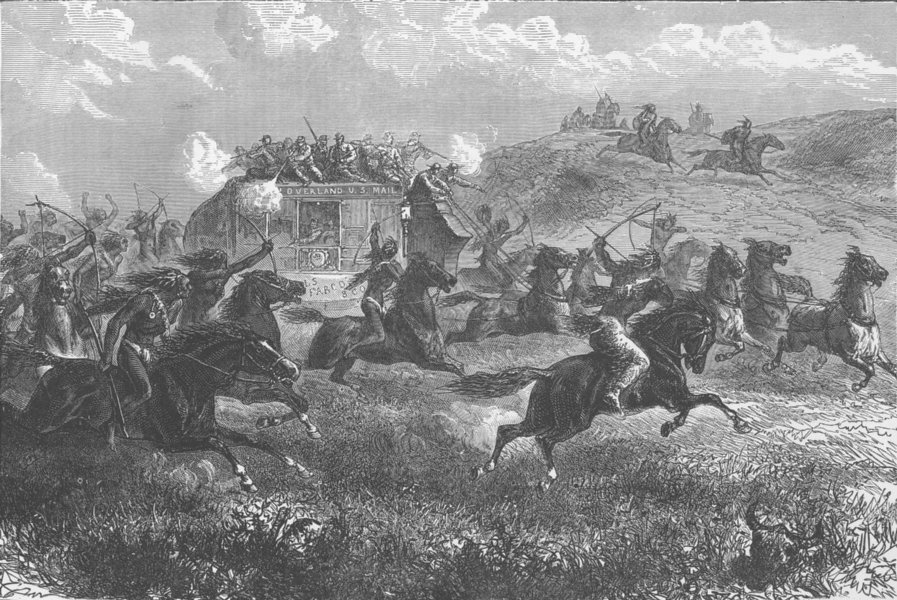 Associate Product USA. Indians attacking the Overland mail before the days of rail 1890 print