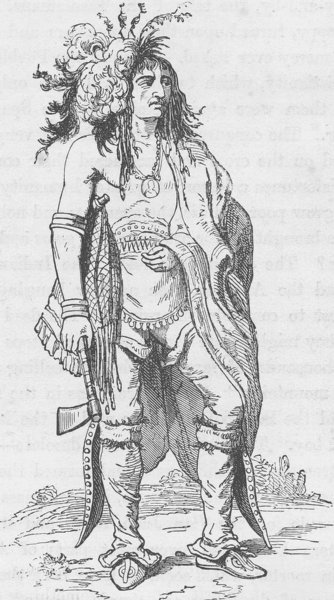Associate Product NEW YORK. Not-o-way (the thinker) an Iroquois Indian (after Catlin)  1890