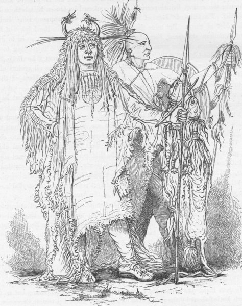 Associate Product USA. Portraits of Petohpeekis, a Blackfoot & Tallee, an Osage 1890 old print