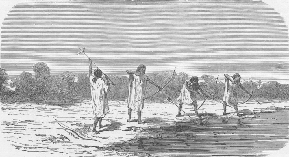 Associate Product BOLIVIA. Antis Indians shooting fish 1890 old antique vintage print picture