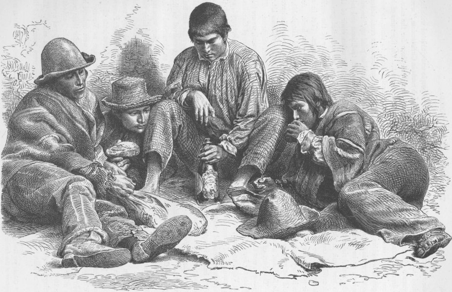 Associate Product PERU. Group of Indios Mansos, Peruvian Indians from Cuzco 1890 old print