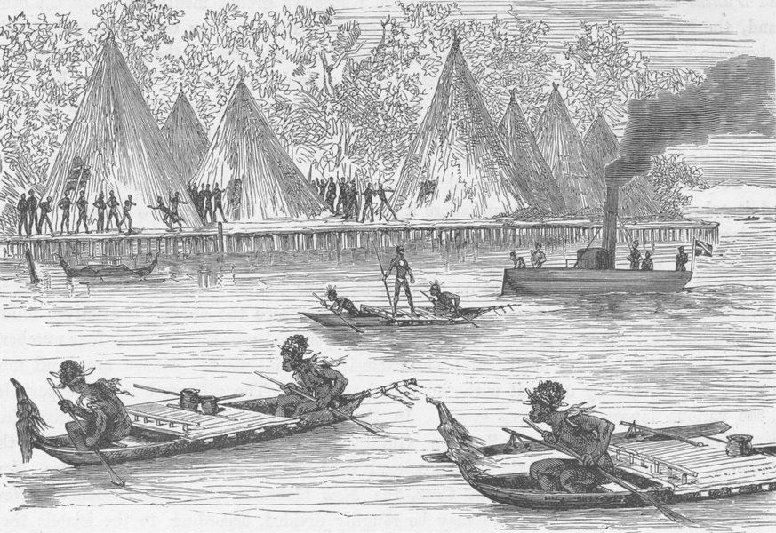 Associate Product NEW GUINEA. Papuans of Humboldt's Bay alarmed at the steam launch 1890 print