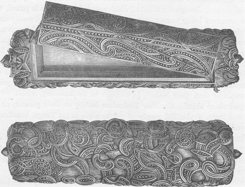 Associate Product NEW ZEALAND. Engraved chests of the Maoris of New Zealand (after cook)  1890