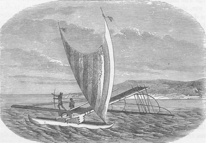 Associate Product POLYNESIA. Canoe of the Bay of Vanikoro, Santa Cruz 1890 old antique print
