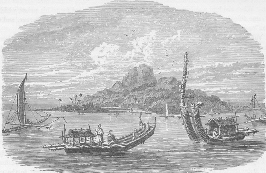 Associate Product POLYNESIA. View of the Isle of Tahiti, with Native Canoes 1890 old print