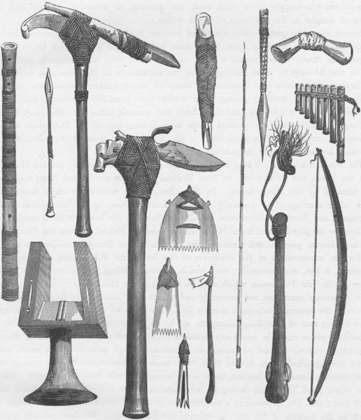 Associate Product POLYNESIA. Arms and other implements of the Tahitians 1890 old antique print