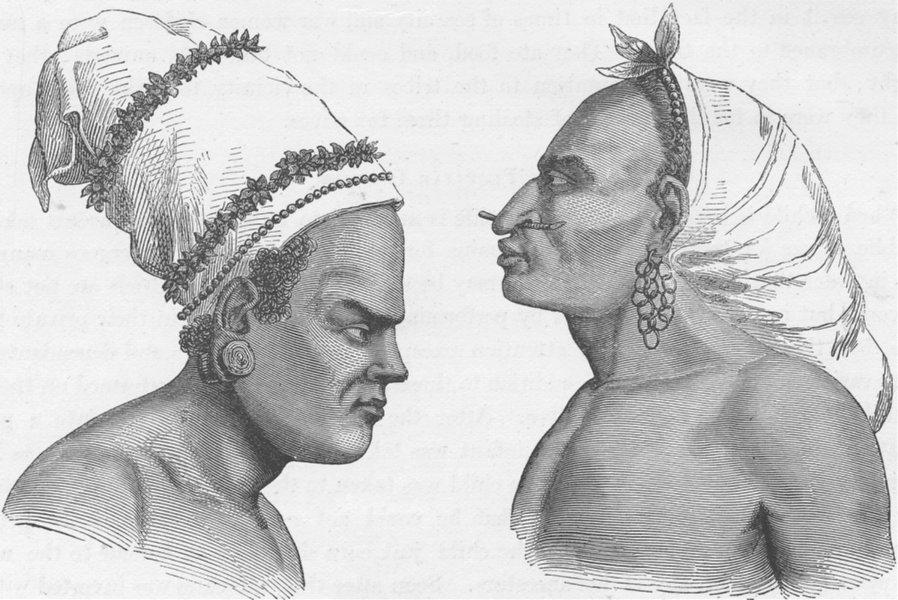 Associate Product PAPAU NEW GUINEA. Natives of Santa Cruz (Papuans) showing the Head-dress 1890