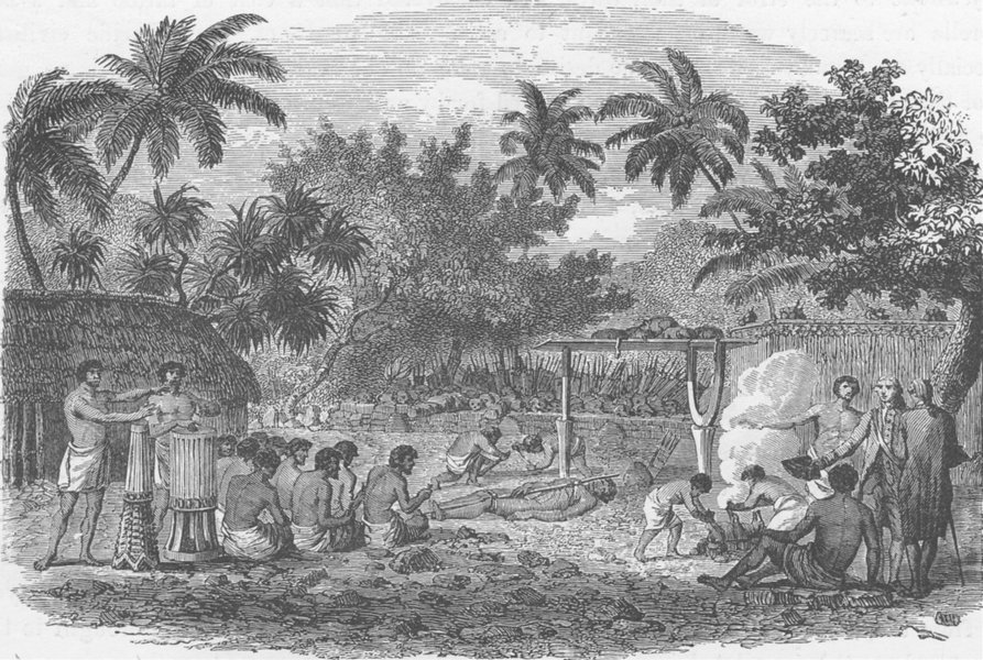 Associate Product POLYNESIA. Human sacrifices at Tahiti (after Cook)  1890 old antique print