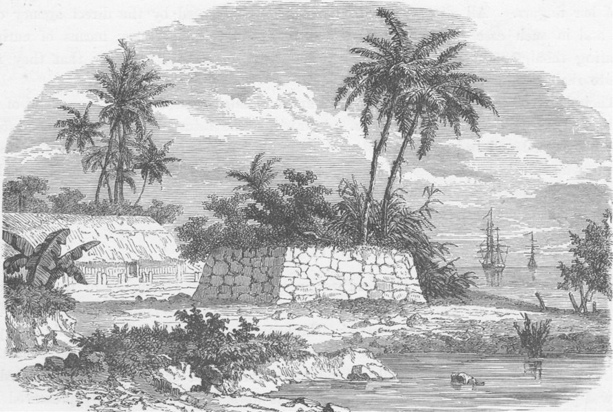 Associate Product POLYNESIA. Ancient Tomb at Matavai, Tahiti (after Dumont D' Urville)  1890
