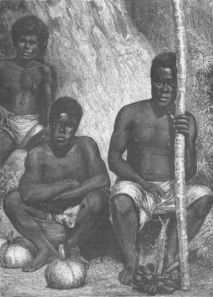 Associate Product PACIFIC ISLANDS. Native fruit-sellers of New Caledonia (Papuans)  1890 print