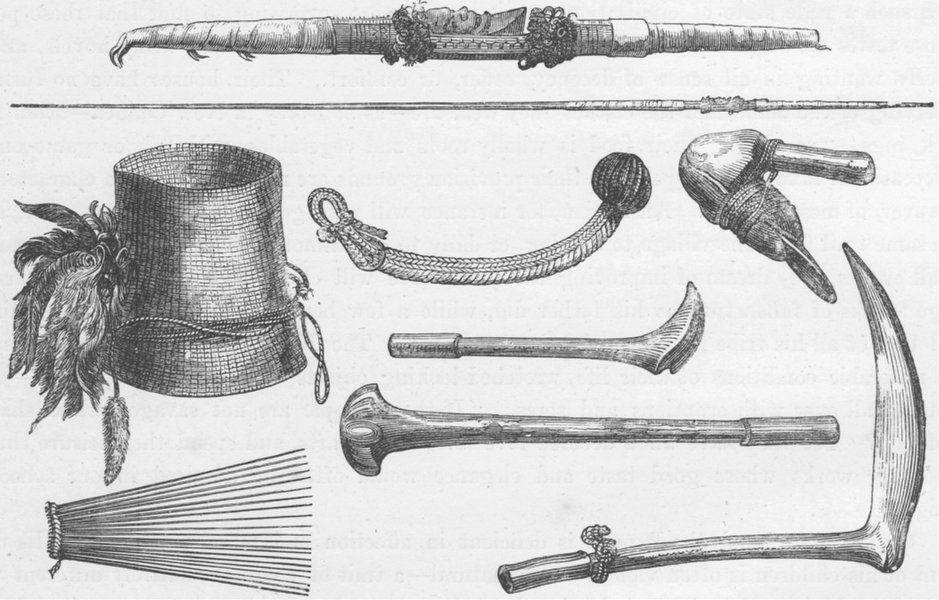 Associate Product PACIFIC ISLANDS. Weapons and ornaments, New Caledonia 1890 old antique print