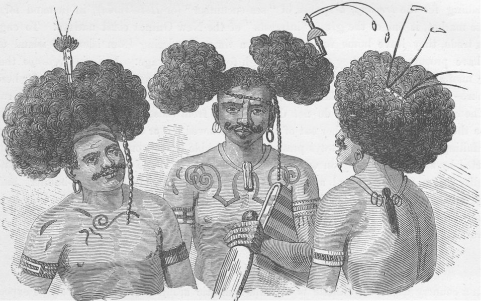 Associate Product PAPAU NEW GUINEA. Modes of dressing the hair practised by the inhabitants 1890